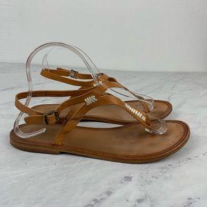 Frye Rachel T Strap Boho Brown Leather Sandals
